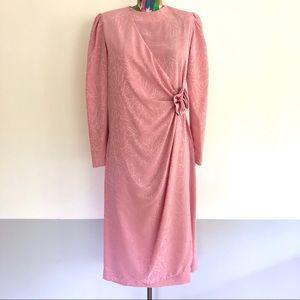 🩰VINTAGE 80s Deco Shell Pink Faux Wrap Dress